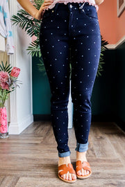 Navy Blue Polka Dot Capris