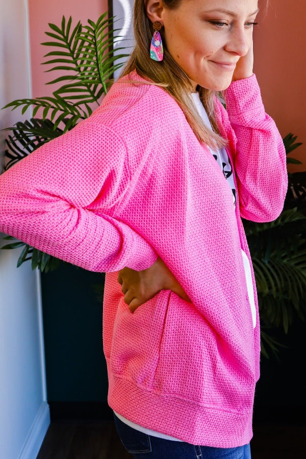 Pink Pineapple Textured Cardigan
