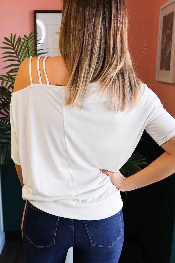 Three Strap Cold Shoulder Top