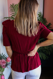 Burgundy Faux Wrap Puff Sleeve Top