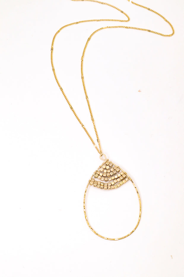 Gold Beaded Hoop Necklace