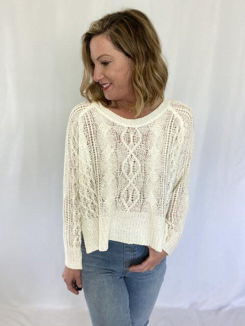 Off White Woven Sweater - 18291