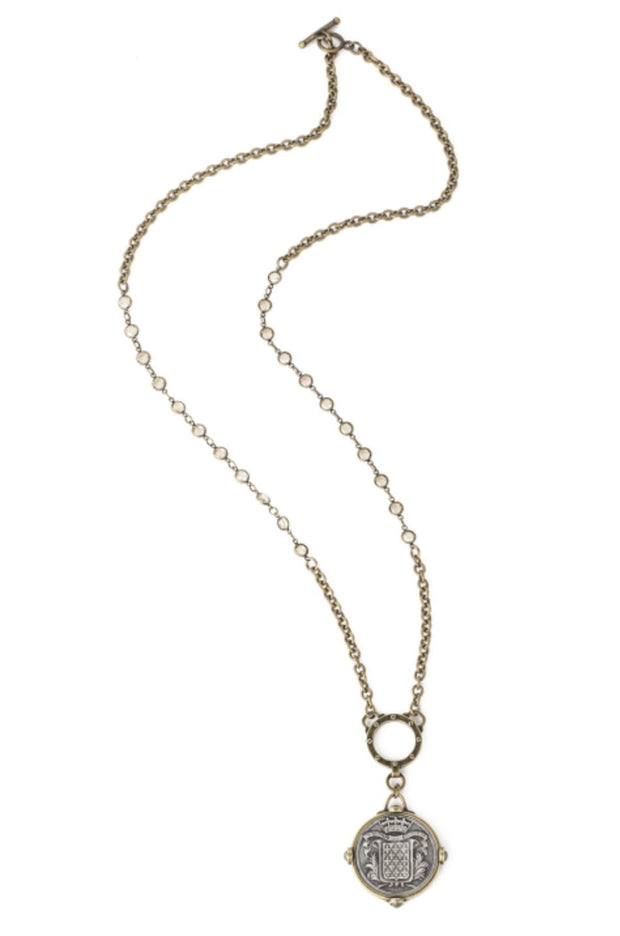 French Kande SWAROVSKI AND CABLE CHAIN WITH MONT JOYE MEDALLION