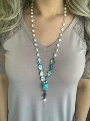 Pearl and Turquoise Stone Necklace