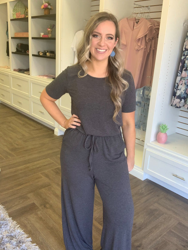 Relaxed Charcoal Short Sleeve Jumpsuit