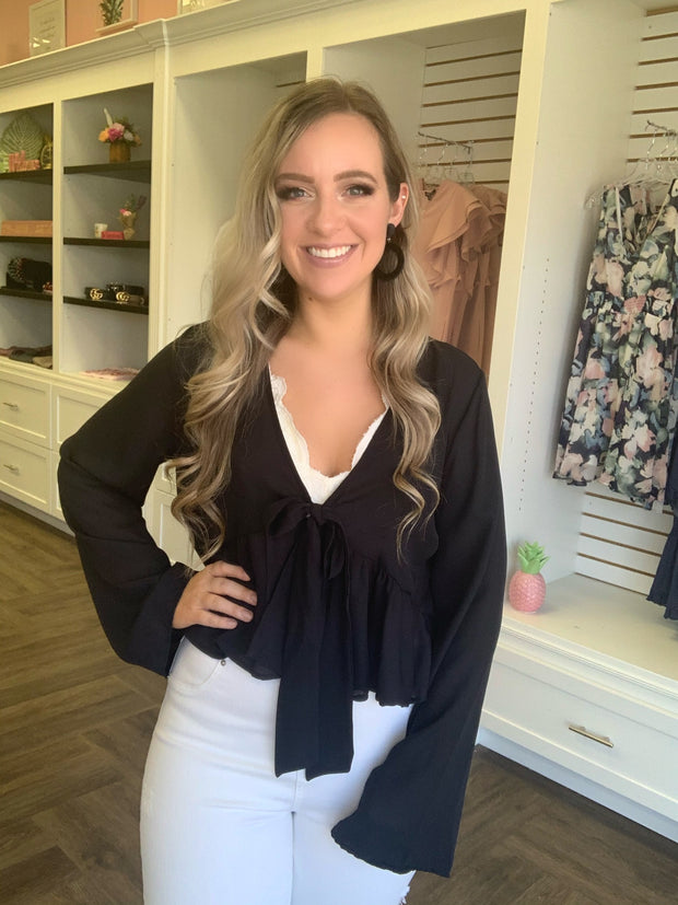 Black Semi-Sheer Bell Sleeve Peplum Cardigan