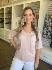 Blush Pink Relaxed Scoop Neck Pocket Tee