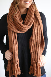 RUST CABLE KNIT SCARF