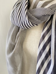 Navy & Gray Striped Spring Scarf