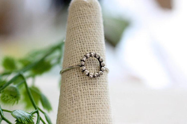 Sterling Dotted Circle Ring