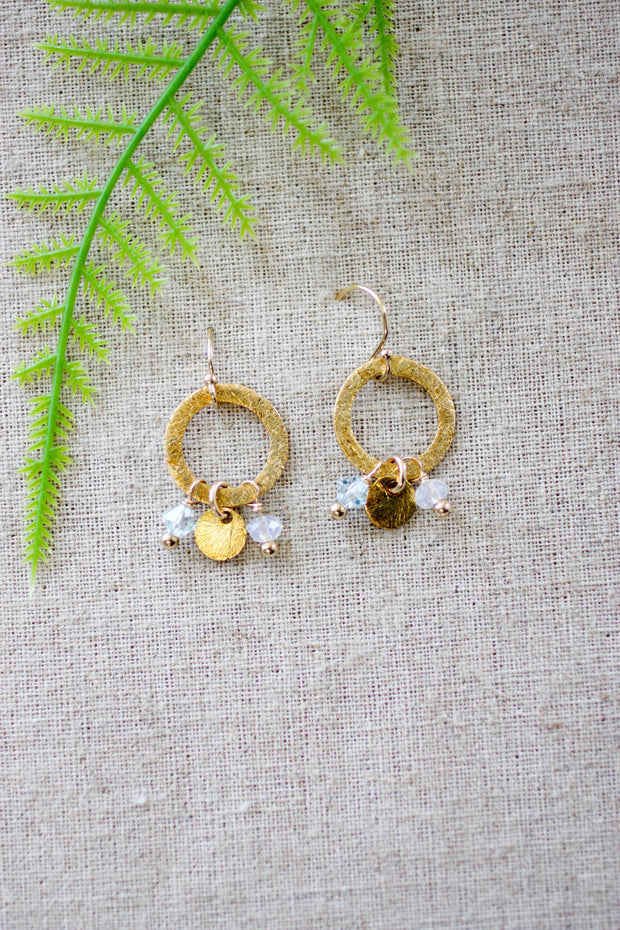 Dangle Detail Brushed Circle Earrings