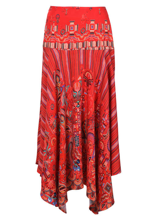 Ivko Long Skirt with Aztec Print Coral