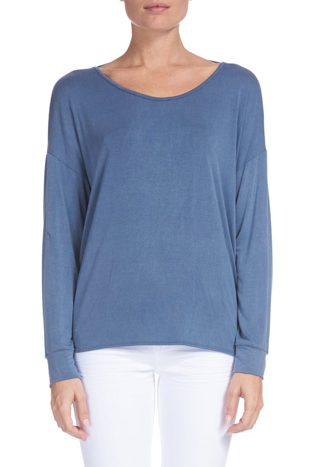 Elan Blue Top with Twist Back
