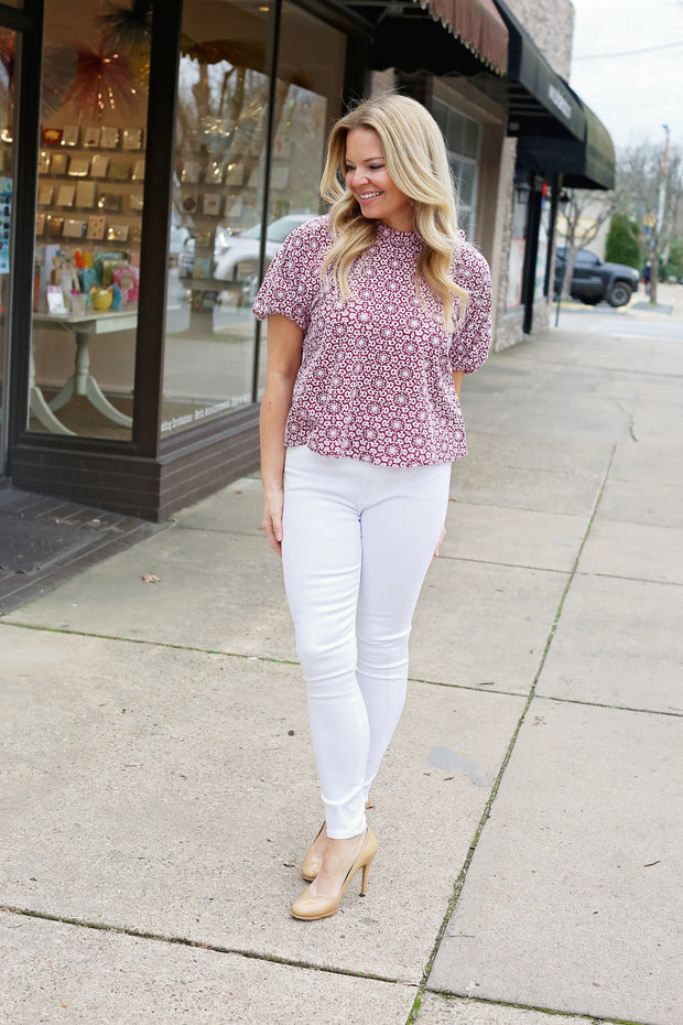 Marie Oliver Willa Eyelet Top Berry