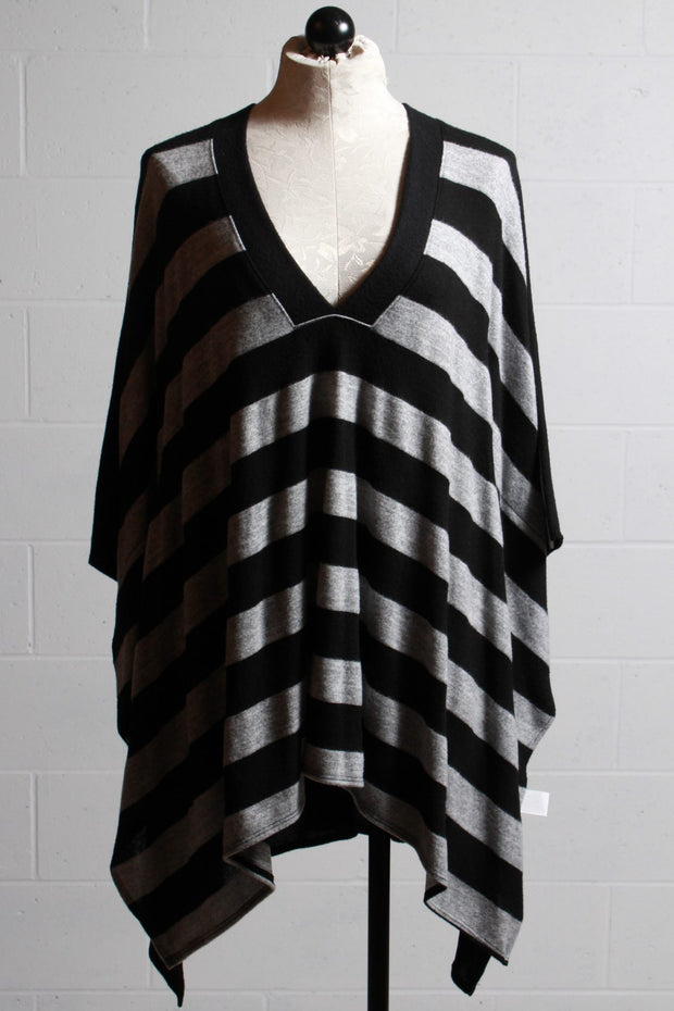 Nally and Millie Striped V Neck Poncho Grey Black