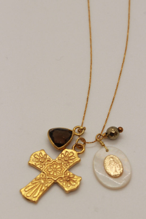 Chan Luu Gold Adjustable Charm Necklace with Cross