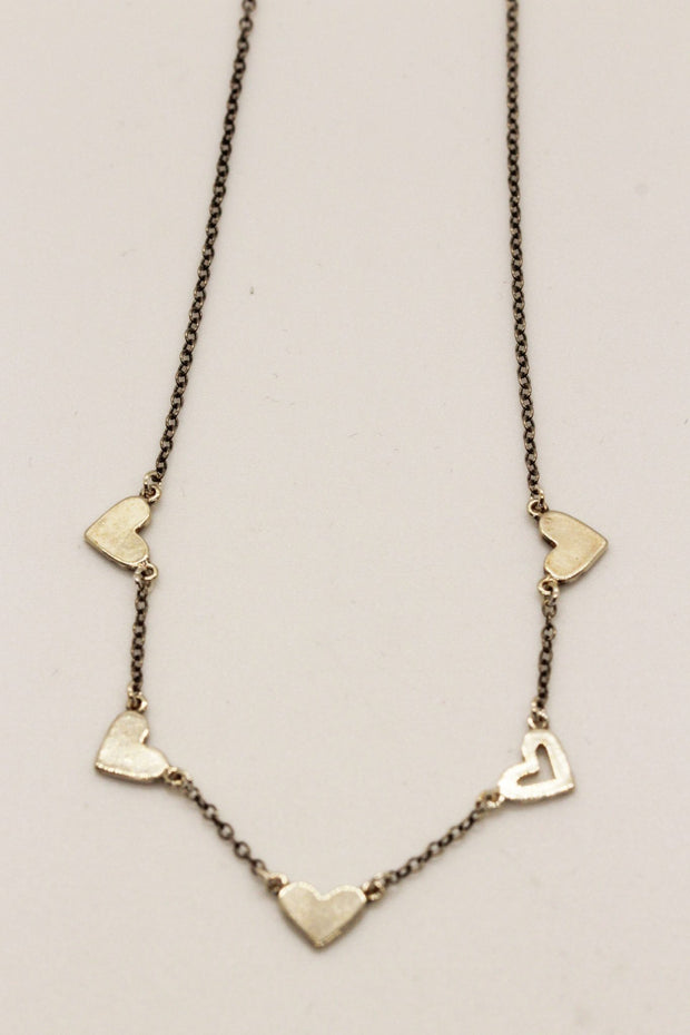 Chan Luu Silver Spaced Out Heart Necklace