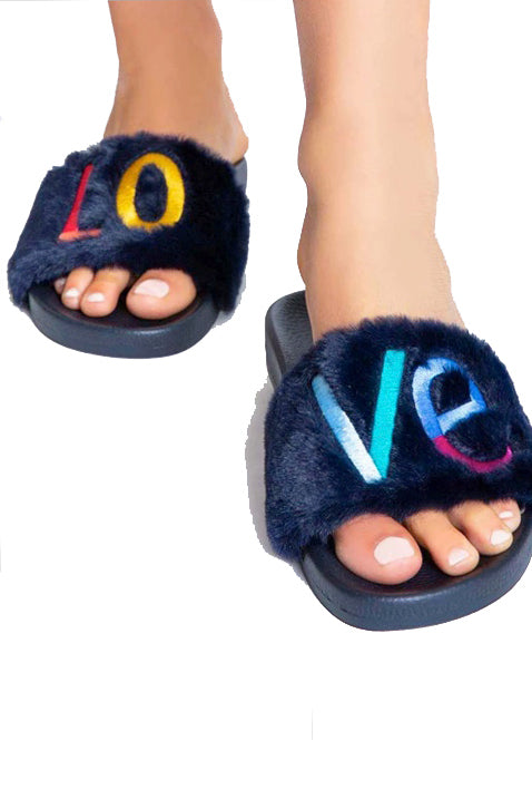 PJ Salvage LOVE Slipper Slides Navy