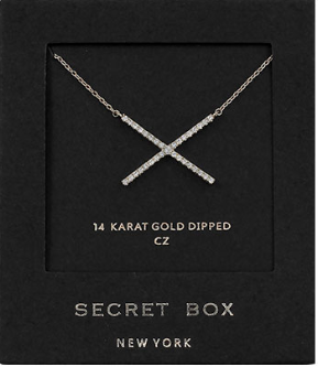 Secret Box CZ Crossed Bars Necklace