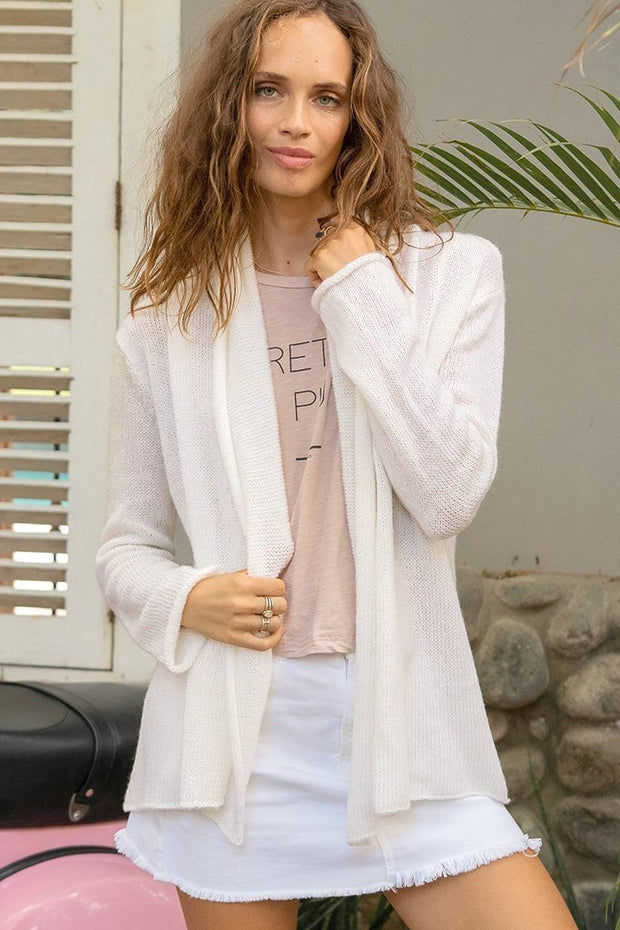Wooden Ships Lightweight Wrap Cardigan Luffing White