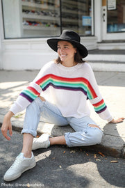 Wooden Ships Rainbow Crew Sweater Breaker White
