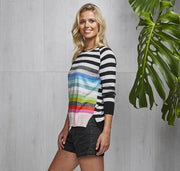 Zaket and Plover Multi Stripe Sweater Black Combo
