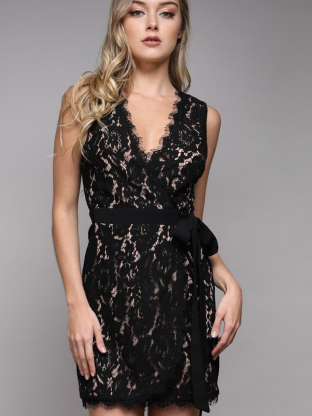 Black Lace Wrap Dress-Final Sale