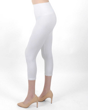 White High-Waisted Capri Leggings
