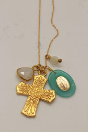 Gold Adjustable Charm Necklace with Cross-Chan Luu
