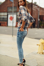 Beige/Denim Plaid Button Down Top