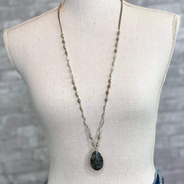 Mix Mercantile Designs - Devin Drop Necklace - Brown