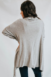 Soft Cozy Fringe Convertible Poncho Cardigan - Grey
