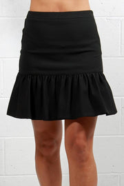 Nicole Miller Stretchy Tech Ruffle Skirt Black BE10353