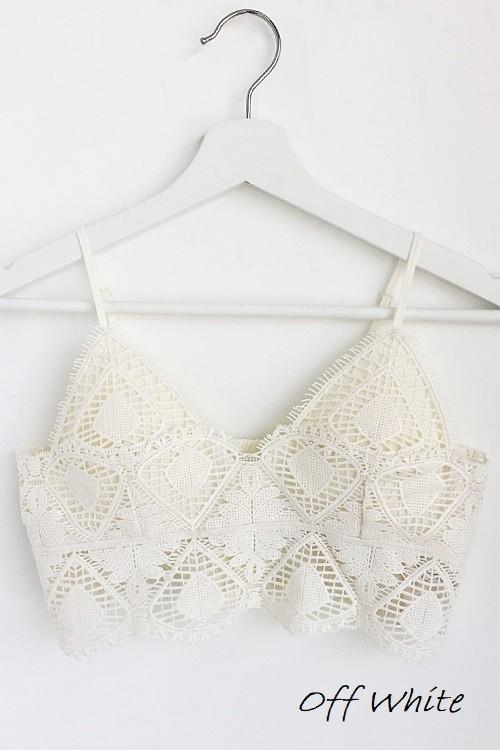 All Day Comfort Light Gray Crochet Lace Bralette
