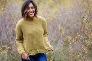 SCALLOP EDGE CHENILLE SWEATER