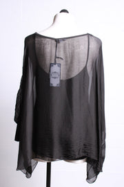 Tempo Paris Chiffon Poncho Top Black 2789P