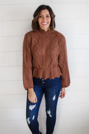 SCALLOPED RUFFLE HEM SWEATER (CAMEL)