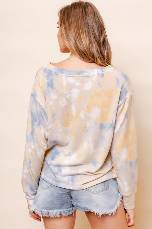 Twist of Fate Yellow & Blue Tie-Dye Top