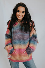 Tie Dye Cable Knit Pullover W/Hood & Pocket