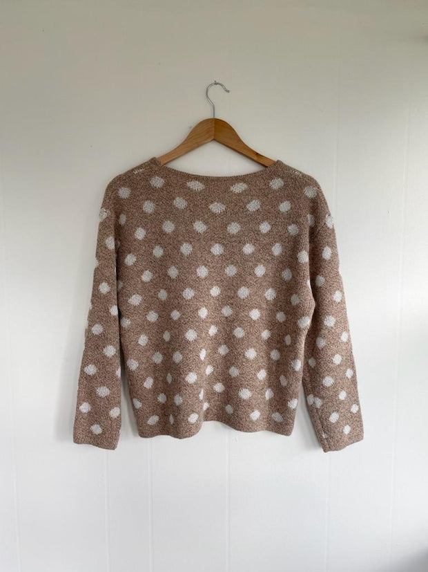 All You Ever Dusty Peach Polka Dot Knit Top