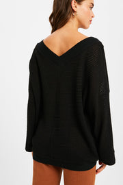 Mimosa on a Monday Waffle-Textured Top in Black