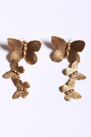 Yochi Triple Butterfly Earrings Gold EP1703