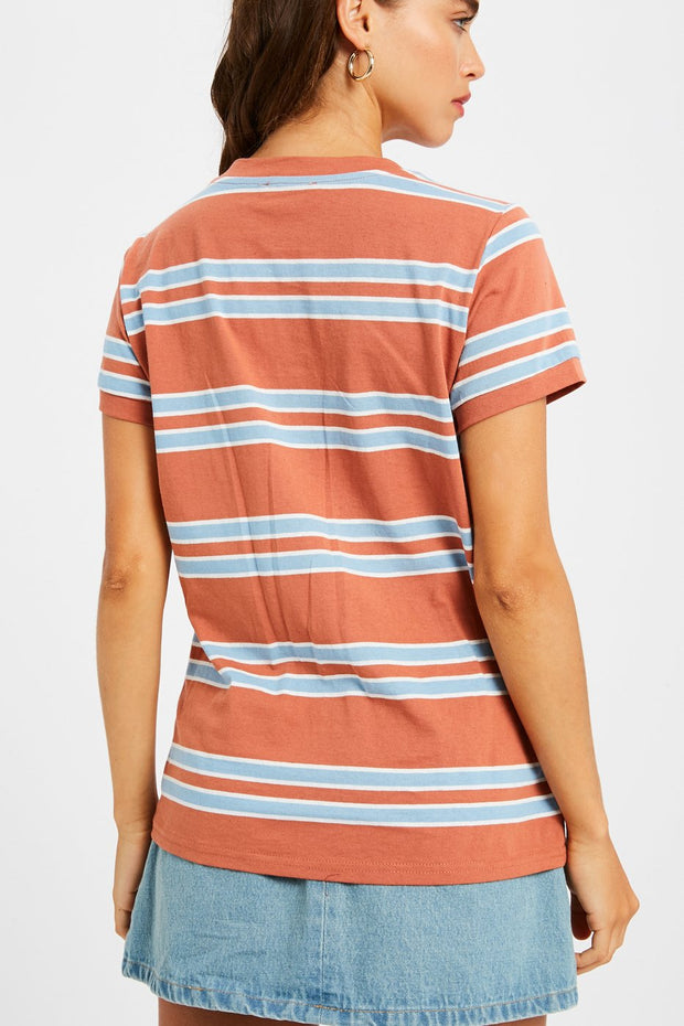 Flirty and Free Multi-Stripe Tee