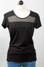 Tricotto Crystal Heart T Shirt Black L709