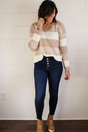 VNECK STRIPED SWEATER