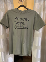 Peace Love Coffee Graphic Shirt - Olive