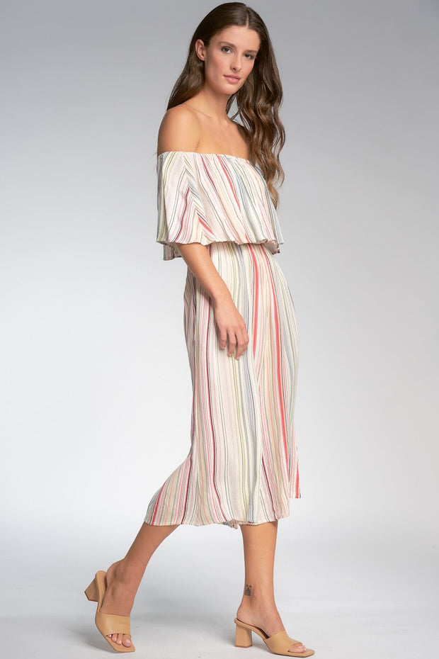 Off Shoulder Multicolored Stripe Romper