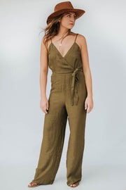 Olive V Neck Jumpsuit - SALE
