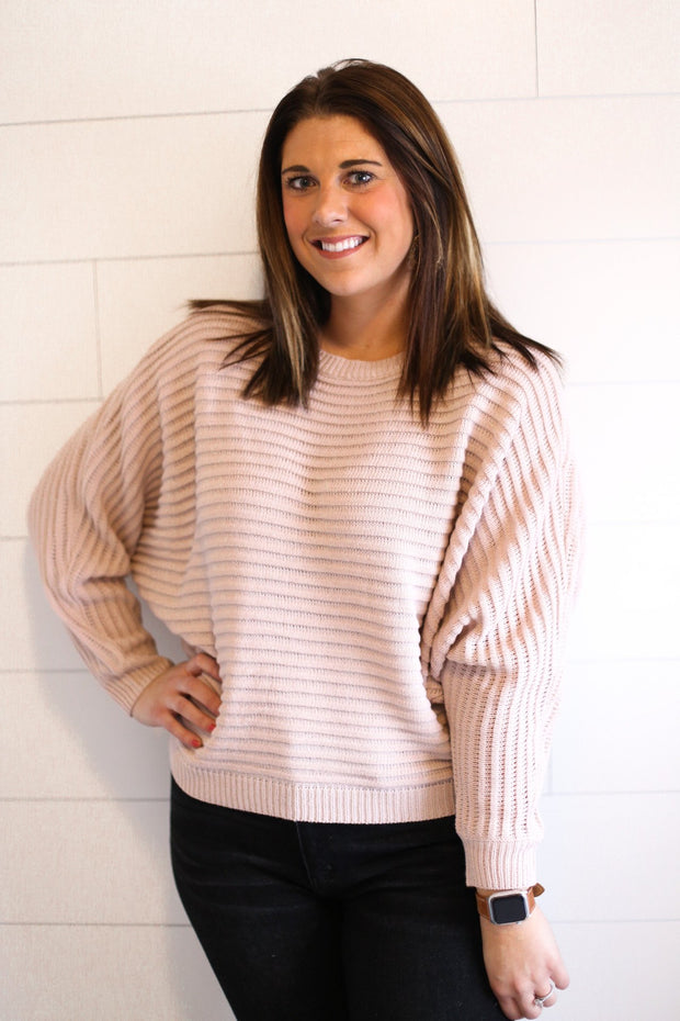 TEXTURED STRIPE SWEATER (PINK)