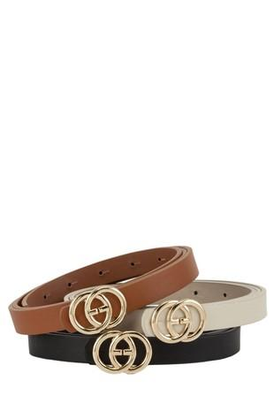 Interlocking Circles Buckle Skinny Belt